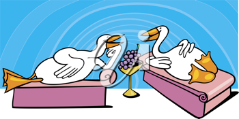 Royalty Free Clipart Image of Geese in Ancient Rome