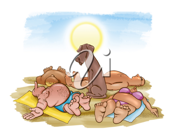 Royalty Free Clipart Image of a Dog in the Centre of People Lying on the Beach