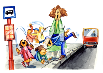 Royalty Free Clipart Image of Children Waiting for a School Bus