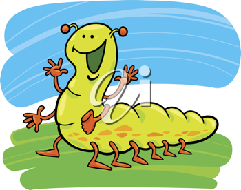 Royalty Free Clipart Image of a Caterpillar Waving