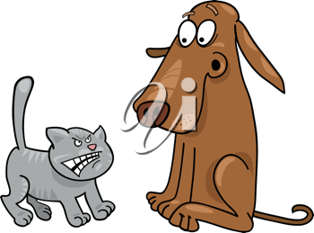 Royalty Free Clipart Image of a Dog Afraid of a Cat