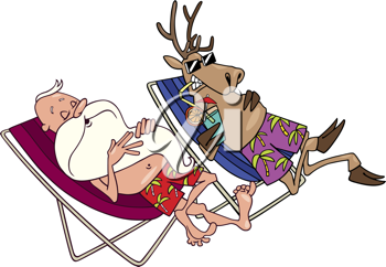 Royalty Free Clipart Image of Santa and a Reindeer Resting in Lounge Chairs