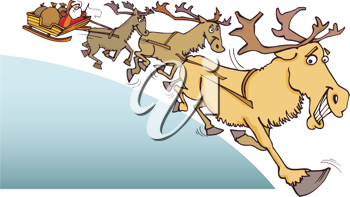 Royalty Free Clipart Image of Santa and His Reindeer