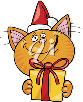 Royalty Free Clipart Image of a Christmas Cat With a Gift