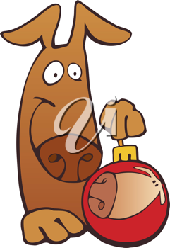 Royalty Free Clipart Image of a Dog With a Christmas Ornament