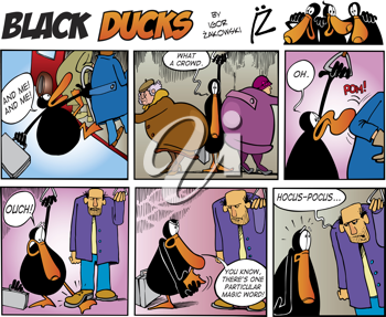 Royalty Free Clipart Image of a Black Ducks Comic Strip on a Bus