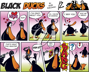 Royalty Free Clipart Image of a Black Ducks Comic Strip About Love