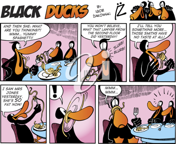 Royalty Free Clipart Image of a Black Ducks Comic Strip in a Restaurant