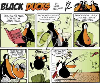Royalty Free Clipart Image of a Black Ducks Comic Strip With a Fly