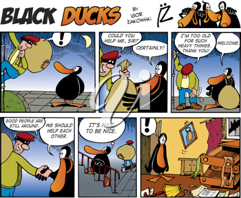 Royalty Free Clipart Image of a Black Ducks Comic Strip With a Burglar