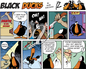 Royalty Free Clipart Image of a Black Ducks Comic Strip