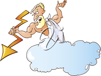 Royalty Free Clipart Image of a Man in a Cloud With a Lightning Bolt