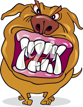 Royalty Free Clipart Image of a Mad Dog