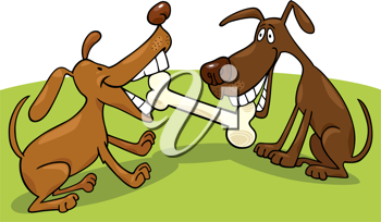 Royalty Free Clipart Image of Two Dogs Playing With a Bone