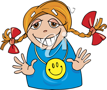 Royalty Free Clipart Image of a Happy Girl in Pigtails Wearing a Happy Face