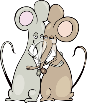 Royalty Free Clipart Image of Mice in Love