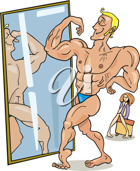 Royalty Free Clipart Image of a Muscular Man Looking in a Mirror
