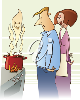 Royalty Free Clipart Image of a Couple Looking at a Boiling Pot With a Ghostly Head Above It