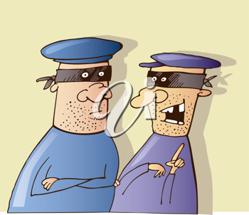 Royalty Free Clipart Image of Two Masked Men Talking