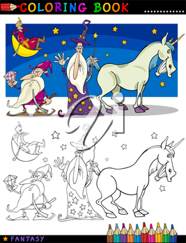 Coloring Book or Page Cartoon Illustration of Wizard and Dwarf and Unicorn Fairytale Characters