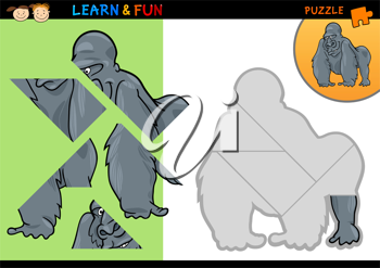 Cartoon Illustration of Education Puzzle Game for Preschool Children with Funny Gorilla