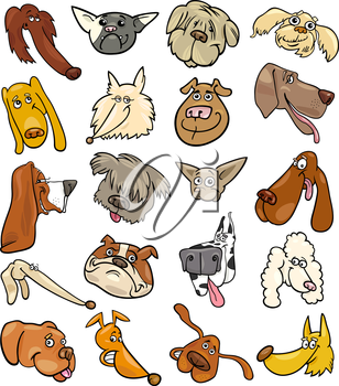 Cartoon Illustration of Different Happy Dogs Heads Big Collection Set