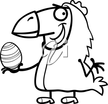 Black and White Cartoon Illustration of Funny Man in Easter Chicken Costume with Easter Egg for Coloring Book