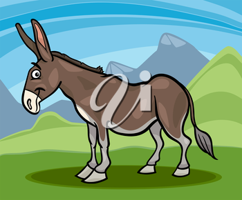 Cartoon Illustration of Funny Comic Donkey Farm Animal
