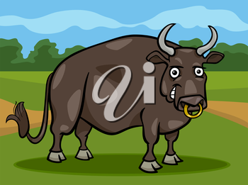 Cartoon Illustration of Funny Comic Bull Farm Animal
