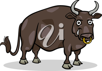 Cartoon Illustration of Funny Bull Farm Animal