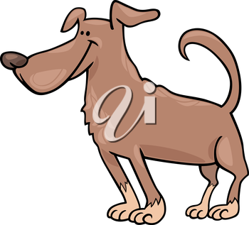 Cartoon Illustration of Funny Standing Brown Dog