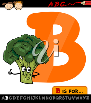 Cartoon Illustration of Capital Letter B from Alphabet with Broccoli Vegetable for Children Education