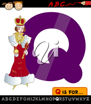 Cartoon Illustration of Capital Letter Q from Alphabet with Queen for Children Education