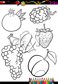 Coloring Book or Page Illustration of Black and White Fruits Food Objects Set
