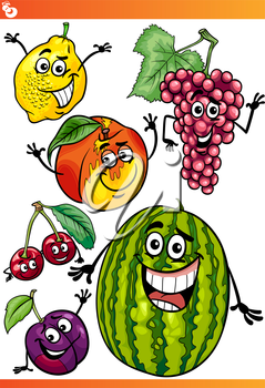 Cartoon Illustration of Funny Fruits Comic Food Characters Set