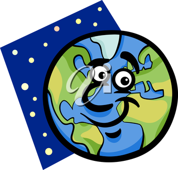 Cartoon Illustration of Funny Earth Planet Comic Mascot Character