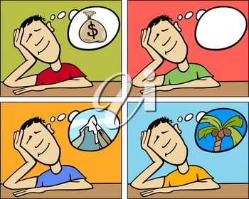Royalty Free Clipart Image of a Man Dreaming