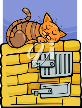 Royalty Free Clipart Image of a cartoon of a Cat Sleeping on a Stove