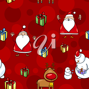 Royalty Free Clipart Image of a Snowman and Santa Background
