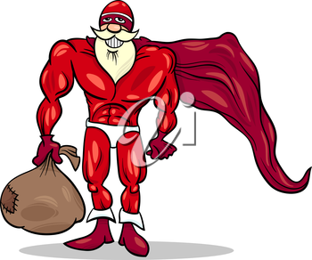 Royalty Free Clipart Image of Santa Superhero With a Sack of Toys