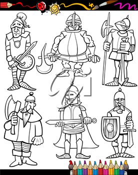 Royalty Free Clipart Image of Knights for Colouring