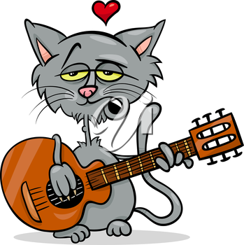 Valentines Day Cartoon Illustration of Funny Cat in Love Playing the Guitar and Singing