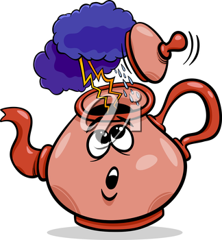 Cartoon Humor Concept Illustration of Tempest in a Teacup Saying or Proverb