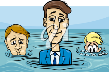Concept Cartoon Illustration of Head Above Water Business Saying or Metaphor