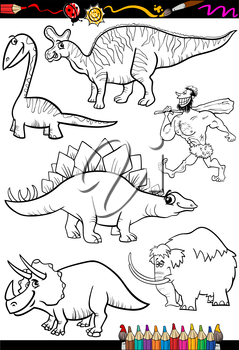 Coloring Book or Page Cartoon Illustration Set of Black and White Dinosaurs and Prehistoric Animals Characters for Children