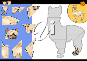 Cartoon Illustration of Education Jigsaw Puzzle Game for Preschool Children with Funny Alpaca or Llama Animal Character