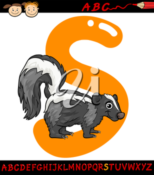 Cartoon Illustration of Capital Letter S from Alphabet with Skunk Animal for Children Education