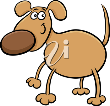 Cartoon Illustration of Cute Dog Pet Character