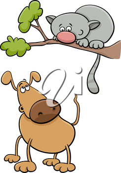 Cartoon Illustration of Funny Dog Character and Cat on a Tree Branch
