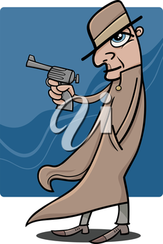 Cartoon Illustration of Detective or Gangster with Gun